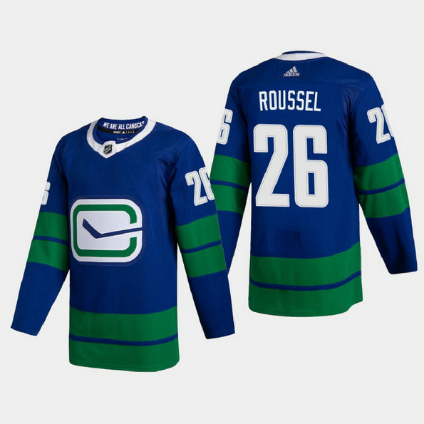 Vancouver Canucks #26 Antoine Roussel Men's Adidas 2020-21 Authentic Player Alternate Stitched NHL Jersey Blue