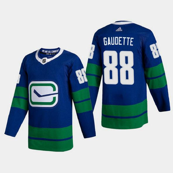 Vancouver Canucks #88 Adam Gaudette Men's Adidas 2020-21 Authentic Player Alternate Stitched NHL Jersey Blue