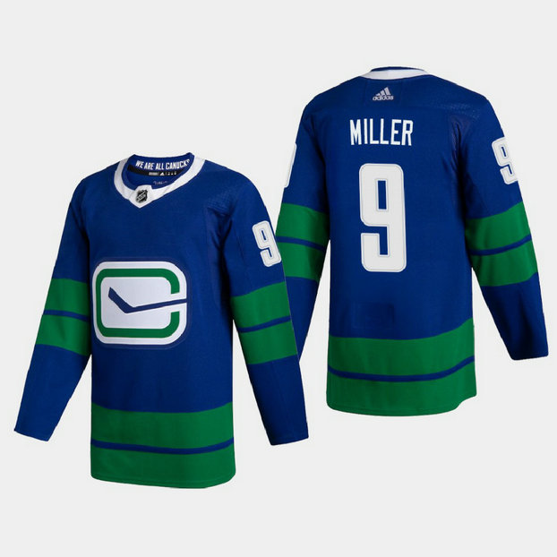 Vancouver Canucks #9 JT Miller Men's Adidas 2020-21 Authentic Player Alternate Stitched NHL Jersey Blue