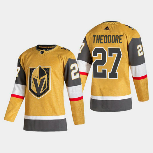 Vegas Golden Knights #27 Shea Theodore Men's Adidas 2020-21 Authentic Player Alternate Stitched NHL Jersey Gold