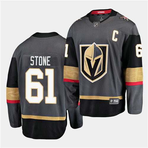 Vegas Golden Knights #61 Mark Stone Home Black 2021 Captain Men Jersey