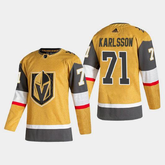 Vegas Golden Knights #71 William Karlsson Men's Adidas 2020-21 Authentic Player Alternate Stitched NHL Jersey Gold