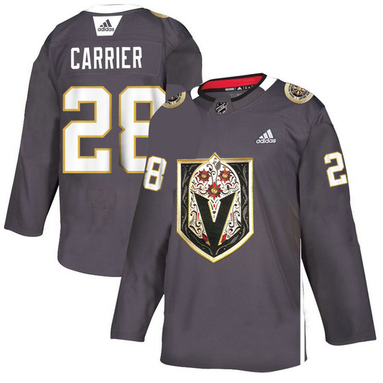 Vegas Golden Knights 28 William Carrier Gray Dia De Los Muertos Adidas Jersey