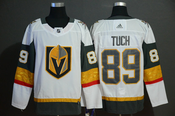 Vegas Golden Knights 89 Alex Tuch White With Special Glittery Logo Adidas Jersey