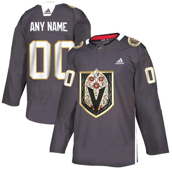 Vegas Golden Knights Custom Men's Grey Adidas Latino Heritage Night Stitched NHL Jersey