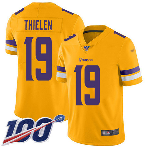 Vikings #19 Adam Thielen Gold Youth Stitched Football Limited Inverted Legend 100th Season Jersey