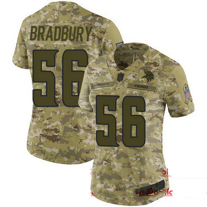 Vikings #56 Garrett Bradbury Camo Women's Stitched Football Limited 2018 Salute to Service Jersey
