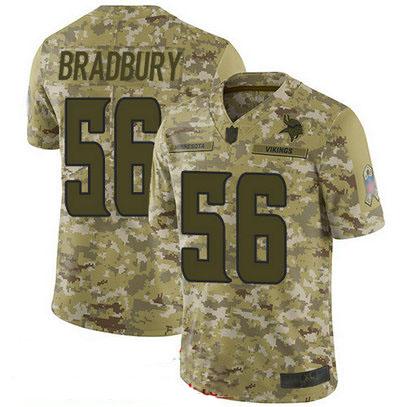 Vikings #56 Garrett Bradbury Camo Youth Stitched Football Limited 2018 Salute to Service Jersey