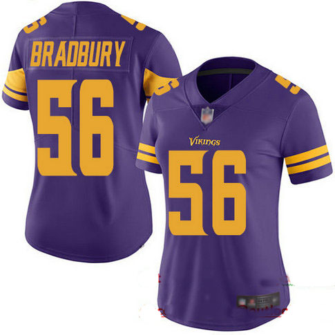 Vikings #56 Garrett Bradbury Purple Women's Stitched Football Limited Rush Jersey