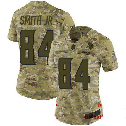 Vikings #84 Irv Smith Jr. Camo Women's Stitched Football Limited 2018 Salute to Service Jersey