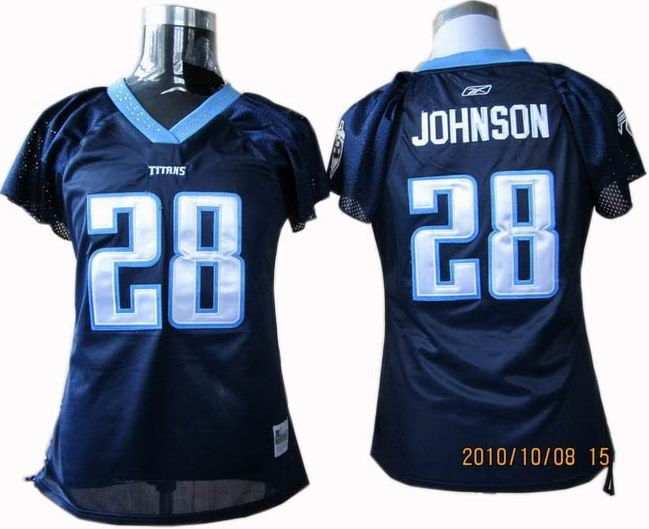 WOMEN Tennessee Titans 28# Chris Johnson Jerseys Dark blue