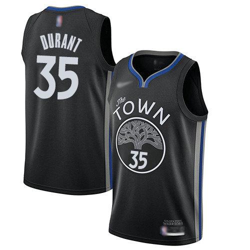 Warriors #35 Kevin Durant Black Basketball Swingman City Edition 2019 20 Jersey