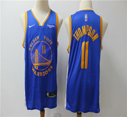 Warriors 11 Klay Thompson Blue Nike Swingman Jersey