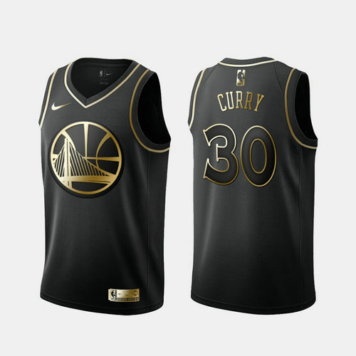 Warriors 30 Stephen Curry Black Gold Nike Swingman Jersey
