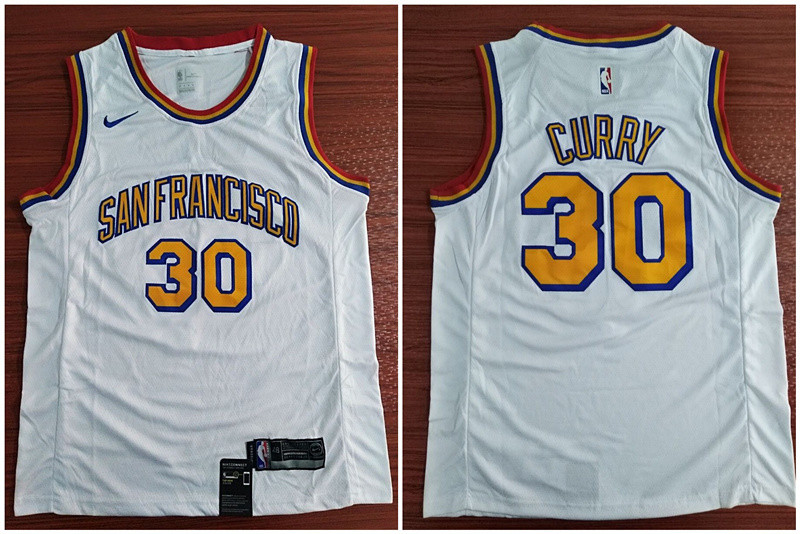 Warriors 30 Stephen Curry White Nike Swingman Jersey