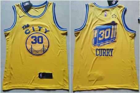 Warriors 30 Stephen Curry Yellow City Edition Nike Swingman Jersey