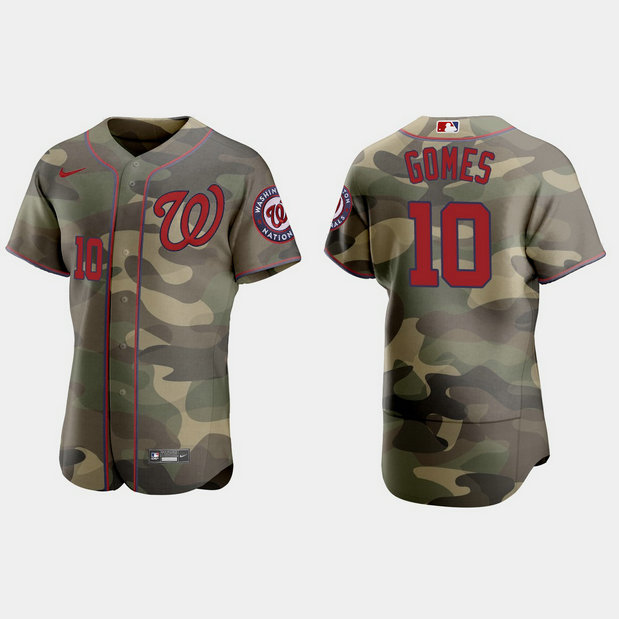 Washington Nationals #10 Yan Gomes Men's Nike 2021 Armed Forces Day Authentic MLB Jersey -Camo