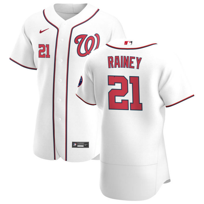 Washington Nationals #21 Tanner Rainey Men's Nike White Home 2020 Authentic Player MLB Jersey