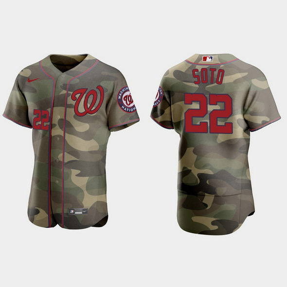 Washington Nationals #22 Juan Soto Men's Nike 2021 Armed Forces Day Authentic MLB Jersey -Camo