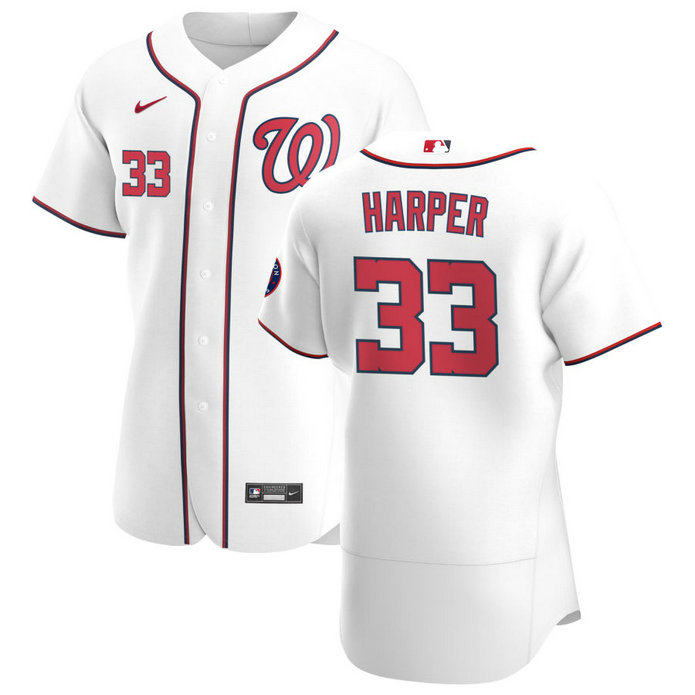 Washington Nationals #33 Ryne Harper Men's Nike White Home 2020 Authentic Player MLB Jersey