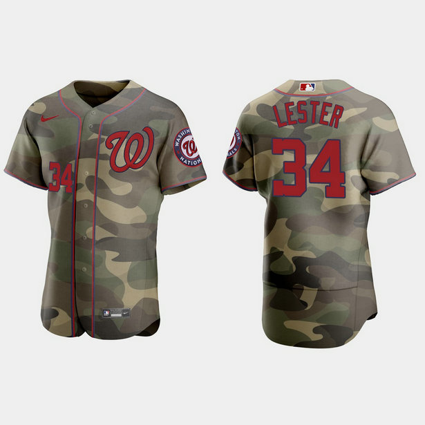 Washington Nationals #34 Jon Lester Men's Nike 2021 Armed Forces Day Authentic MLB Jersey -Camo