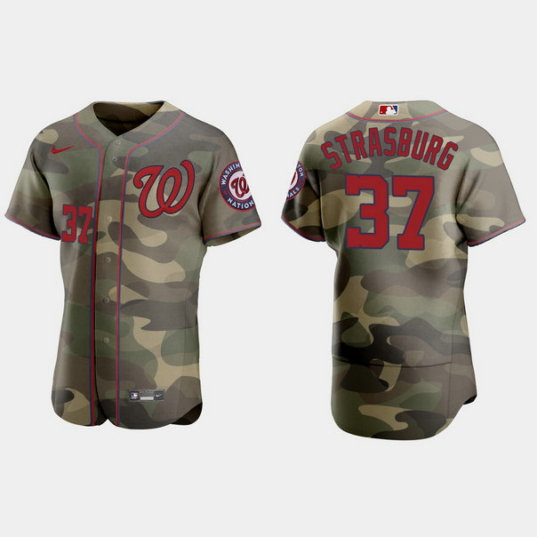 Washington Nationals #37 Stephen Strasburg Men's Nike 2021 Armed Forces Day Authentic MLB Jersey -Camo