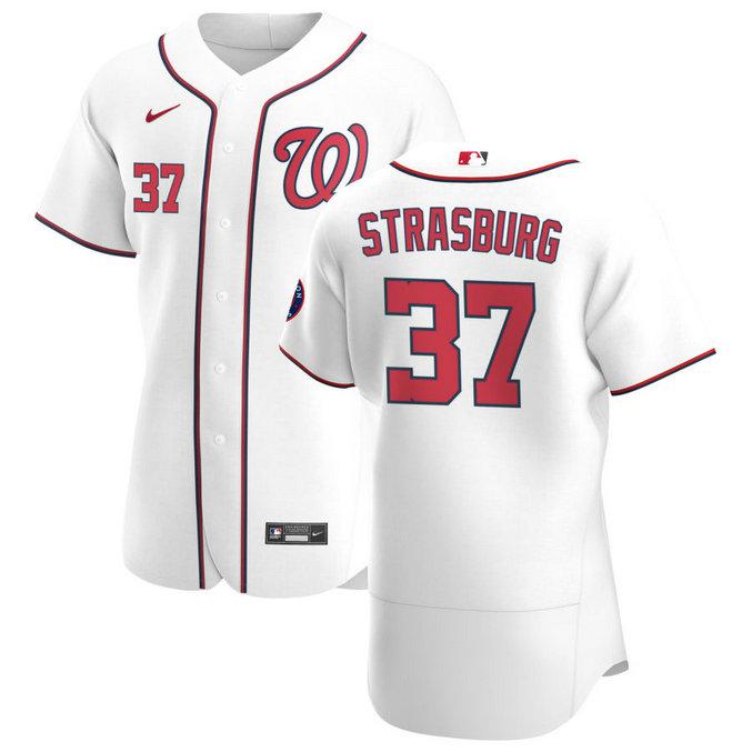 Washington Nationals #37 Stephen Strasburg Men's Nike White Home 2020 Authentic Player MLB Jersey