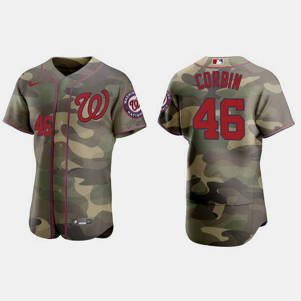 Washington Nationals #46 Patrick Corbin Men's Nike 2021 Armed Forces Day Authentic MLB Jersey -Camo