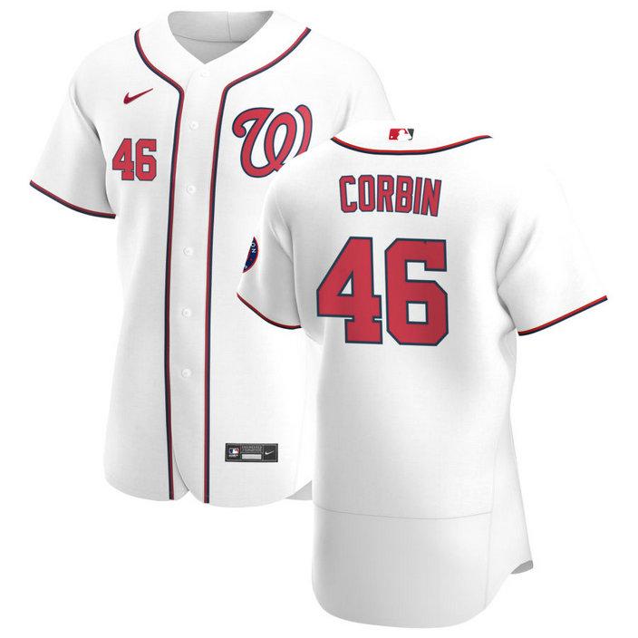 Washington Nationals #46 Patrick Corbin Men's Nike White Home 2020 Authentic Player MLB Jersey