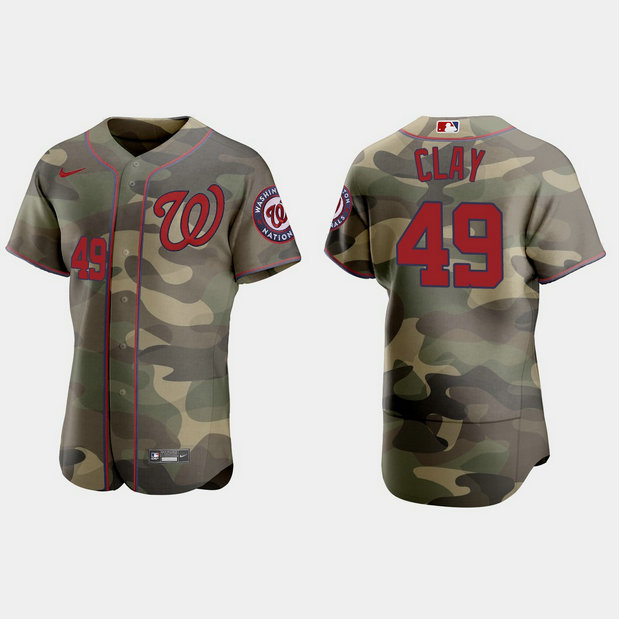 Washington Nationals #49 Sam Clay Men's Nike 2021 Armed Forces Day Authentic MLB Jersey -Camo