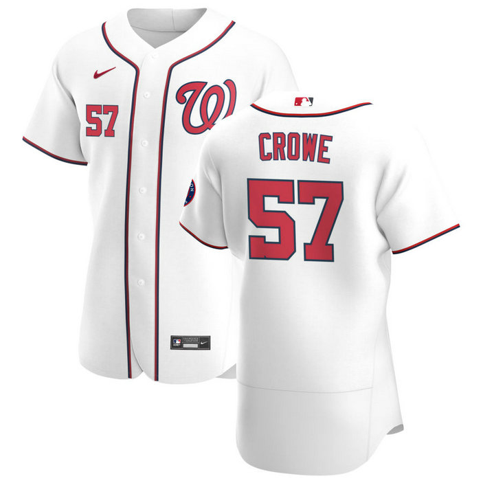 Washington Nationals #57 Wil Crowe Men's Nike White Home 2020 Authentic Player MLB Jersey