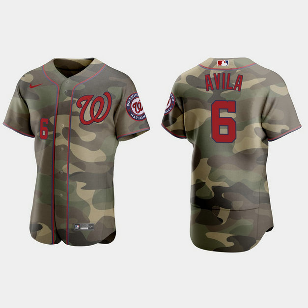 Washington Nationals #6 Alex Avila Men's Nike 2021 Armed Forces Day Authentic MLB Jersey -Camo