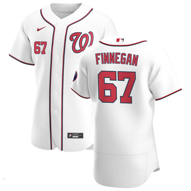 Washington Nationals #67 Kyle Finnegan Men's Nike White Home 2020 Authentic Player MLB Jersey