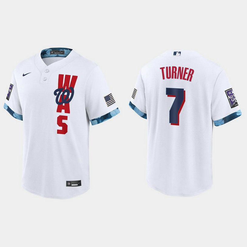 Washington Nationals #7 Trea Turner 2021 Mlb All Star Game Fan's Version White Jersey