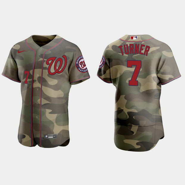 Washington Nationals #7 Trea Turner Men's Nike 2021 Armed Forces Day Authentic MLB Jersey -Camo