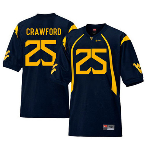 West Virginia Mountaineers 25 Justin Crawford Navy College Football Jersey