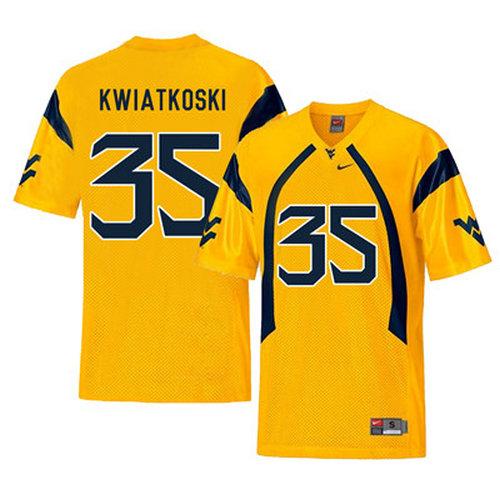 West Virginia Mountaineers 35 Nick Kwiatkoski Gold College Football Jersey