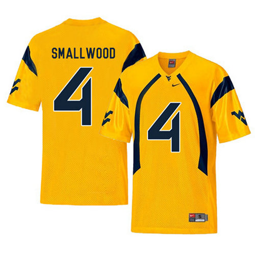West Virginia Mountaineers 4 Wendell Smallwood Gold College Football Jersey