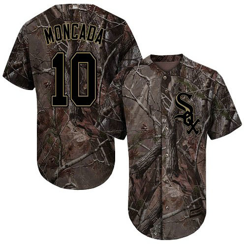 White Sox #10 Yoan Moncada Camo Realtree Collection Cool Base Stitched Youth Baseball Jersey