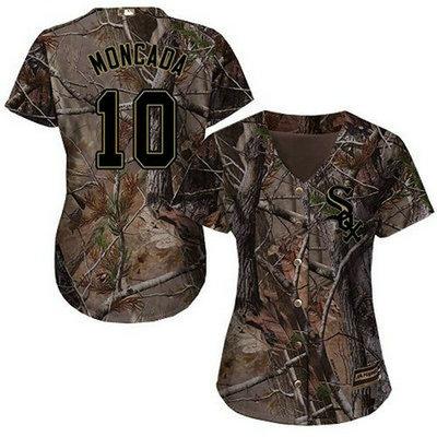 White Sox #10 Yoan Moncada Camo Realtree Collection Cool Base Women's Stitched Baseball Jersey