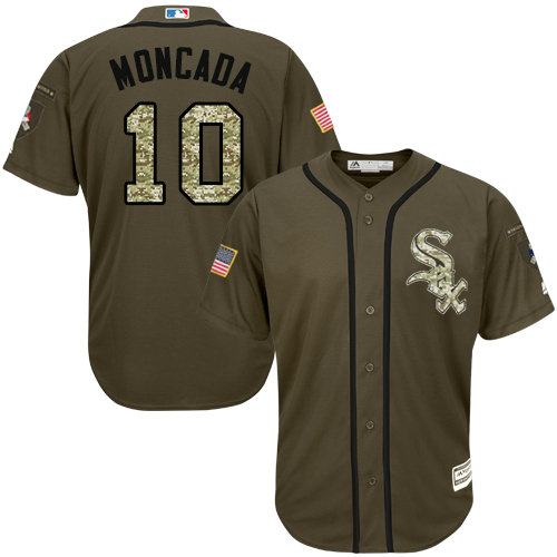 White Sox #10 Yoan Moncada Green Salute to Service Stitched Youth MLB Jersey