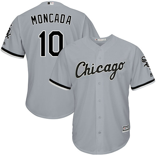 White Sox #10 Yoan Moncada Grey Cool Base Stitched Youth MLB Jersey