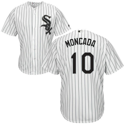 White Sox #10 Yoan Moncada White(Black Strip) Home Cool Base Stitched Youth MLB Jersey