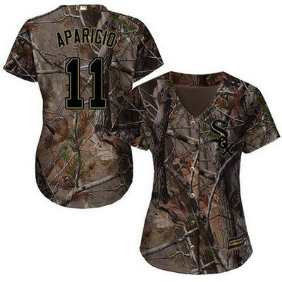 White Sox #11 Luis Aparicio Camo Realtree Collection Cool Base Women's Stitched Baseball Jersey