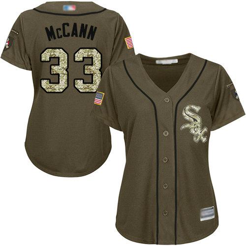 White Sox #33 James McCann Green Salute to Service Women's Stitched Baseball Jersey
