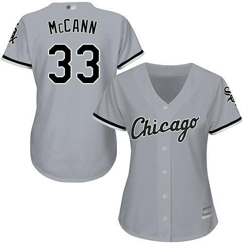 White Sox #33 James McCann Grey Road Women's Stitched Baseball Jersey