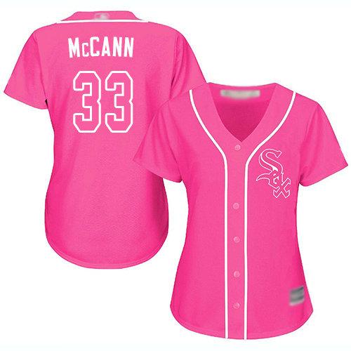 White Sox #33 James McCann Pink Fashion Women's Stitched Baseball Jersey