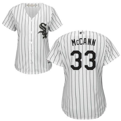 White Sox #33 James McCann White(Black Strip) Home Women's Stitched Baseball Jersey