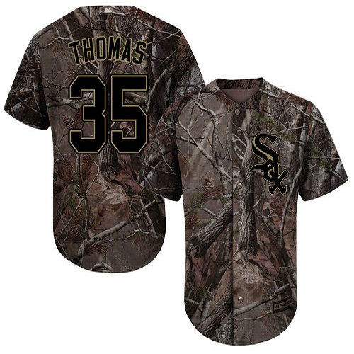 White Sox #35 Frank Thomas Camo Realtree Collection Cool Base Stitched Youth Baseball Jersey
