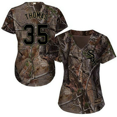 White Sox #35 Frank Thomas Camo Realtree Collection Cool Base Women's Stitched Baseball Jersey